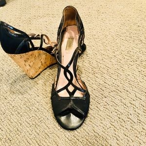 Prada black cocktail wedges